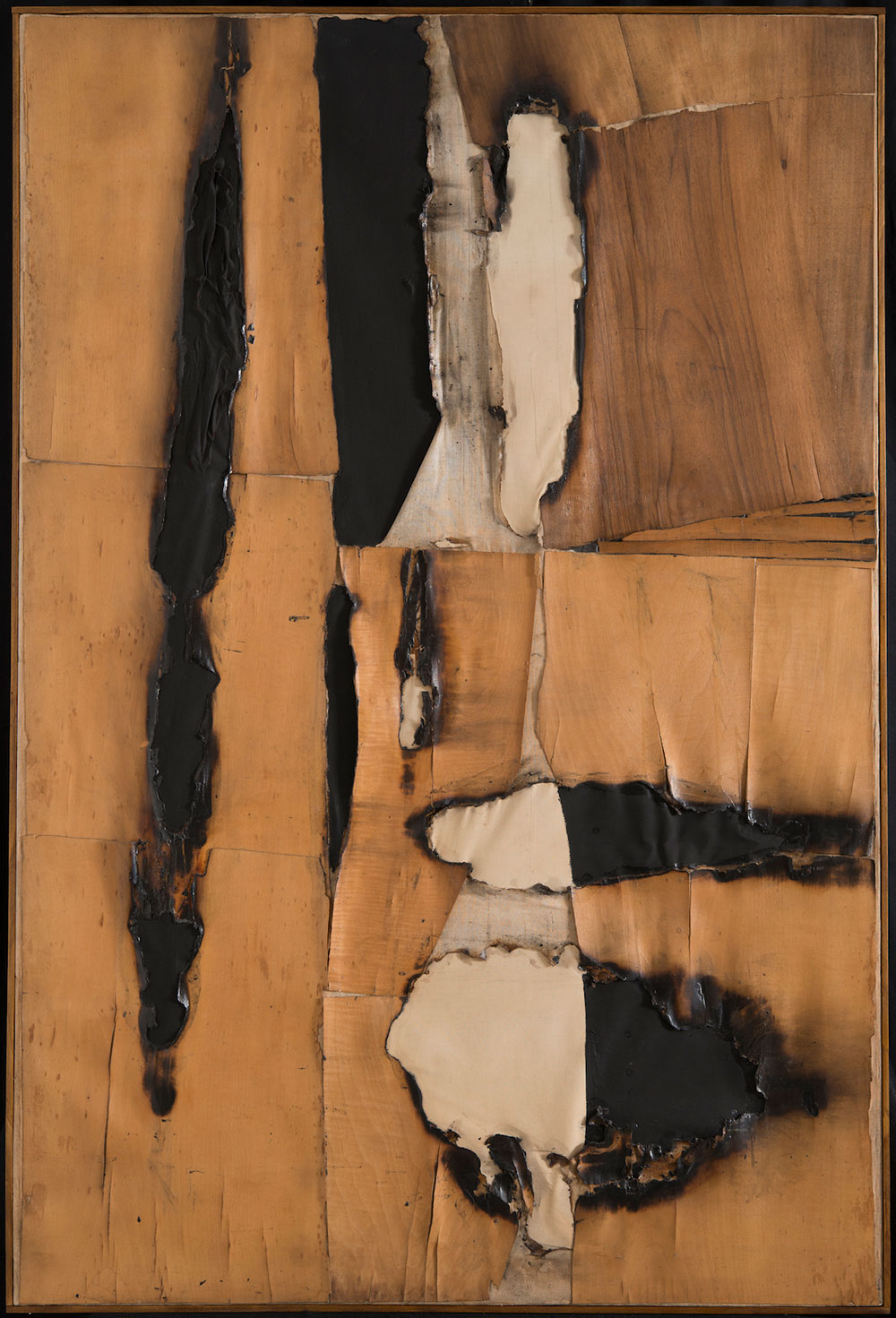"Alberto Burri, ""Combustione legno (Wood Combustion)"" (1957), wood veneer, paper, combustion, acrylic, and Vinavil on canvas, 149.5 x 99 cm"